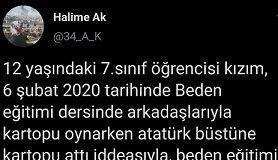 Atatürk büstüne kar topu atan çocuğu öğretmeni polise şikayet etti
