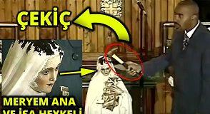 Papaz Meryem ve İsa heykelini kırdı